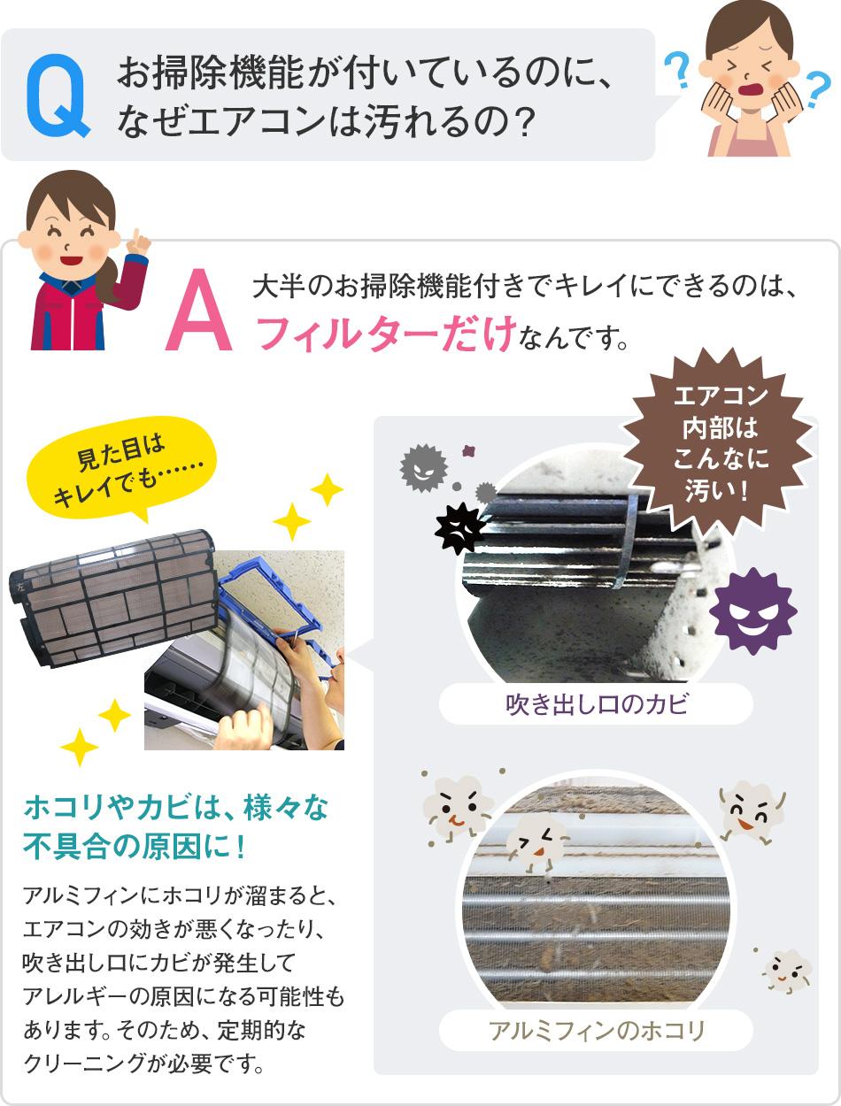 お掃除機能が付いているのに、なぜエアコンは汚れるの?