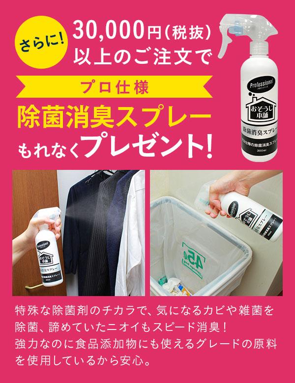 30,000円(税抜)以上のご注文で【プロ仕様】除菌消臭スプレーもれなくプレゼント!